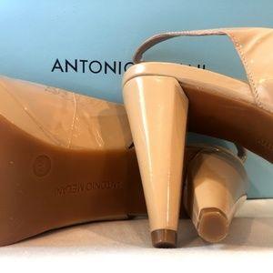 Tan Platform Peep Toe Heels ANTONIO MELANI Size 8